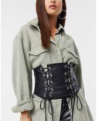 ASOS Corset Waist Belt With Side Tie Up Details - Black