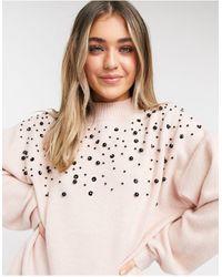 New Look - Уютный Трикотажный Джемпер С Объемными Рукавами И Вышивкой Из Бисера Светло-розового Цвета -розовый Цвет - Lyst