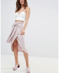 ASOS Occasion Tie Front Pencil Skirt - Pink