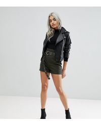 ASOS - Asos Design Petite High Waisted Peg Shorts In Khaki With Extra Long Belt - Lyst