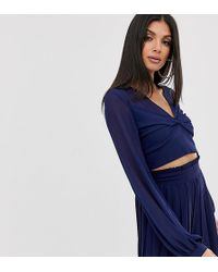 TFNC London Knot Front Long Sleeve Wrap Co-ord Crop Top In Navy - Blue