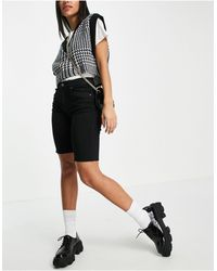 Dr. Denim Lexy Long Line Skinny Denim Shorts - Black