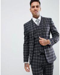 ASOS Chaqueta de traje muy ajustada con estampado de cuadros grises en el mismo tono