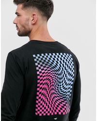 Hollister Chest Logo Back Print Long Sleeve Top - Black