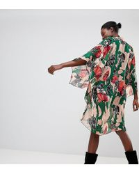 Anna Sui - Exclusive Woodblock Flower Longline Kimono - Lyst