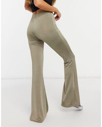 TOPSHOP Slinky Flared Trousers - Green