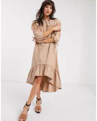Lost Ink Свободное Платье Миди С Вышивкой Ришелье И Кружевной Отделкой -коричневый - Естественный