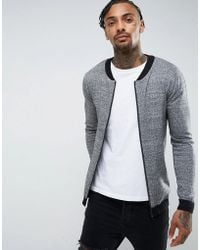 ASOS - Knitted Cotton Bomber With Contrast Trims In Gray Twist - Lyst