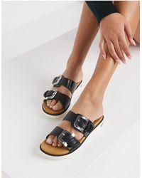 Call It Spring By Aldo Minians Vegan Double Buckle Flat Sandals - Black