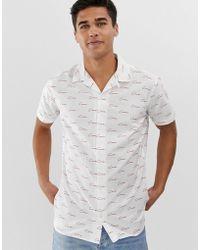 Jack & Jones Core Slim Fit Script Logo Revere Collar Short Sleeve Shirt In White