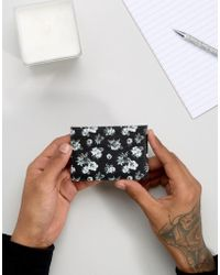 ASOS - Leather Card Holder In Monochrome Floral Design - Lyst