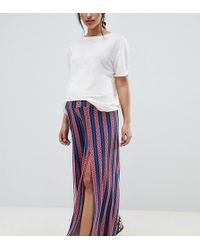 ASOS - Asos Design Maternity Wide Leg Trousers With Split Front In Geo- Stripe Print - Lyst