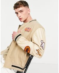 ASOS Varsity Jacket With Embroidered Faux Leather Sleeves - Brown