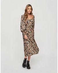 Miss Selfridge Платье Миди Со Сборками И Звериным Принтом -коричневый Цвет