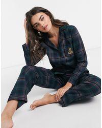 Lauren by Ralph Lauren LAUREN Ralph Lauren – Pyjamaset mit Einkerbung am Kragen und grünes Schottenkaros