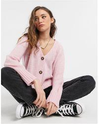 TOPSHOP Cropped Cardigan - Pink