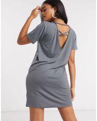 Missguided Темно-серое Платье-футболка -серый