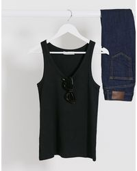 Mango Ribbed Scoop Neck Vest - Black