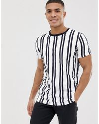 ASOS Vertical Stripe Print T-shirt With Contrast Neck - White