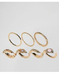 ASOS - Pack Of 7 Faux Rose Quartz And Filligree Rings - Lyst