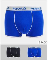 Reebok Confezione da 2 boxer aderenti nero e blu