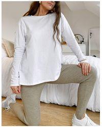 ASOS Long Sleeve T-shirt With Split Back - White