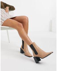 Stradivarius Setback Heeled Boots - Natural