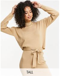 Missguided Missguided Co-ord Tall Cropped Sweater With Funnel Neck - Brown