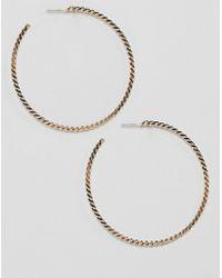 River Island - Chain Twist Hoop Earrings In Gold - Lyst