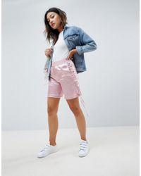 ASOS Pantaloncini effetto seta con laccetti laterali - Rosa