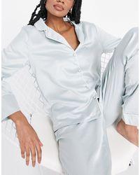 New Look Plain Satin Pyjama Set - Green