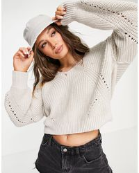 Abercrombie & Fitch Slouchy V Neck Sweater - White