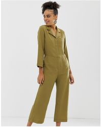 Monki Cropped Utility Jumpsuit In Khaki - Natural