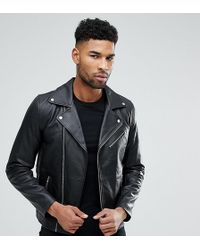 ASOS Tall Leather Biker Jacket In Black