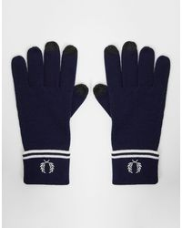 Fred Perry 100% Merino Wool Touch Screen Gloves - Blue