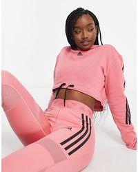 adidas Originals Розовый Укороченный Худи С 3 Полосками Adidas Training-розовый Цвет