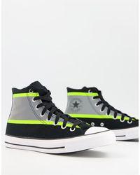 Converse Черно-желтые Высокие Кроссовки Со Светоотражающими Элементами Chuck Taylor All Star Hi Vis-черный Цвет - Многоцветный