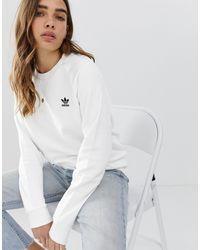 adidas Originals – es Basic-Sweatshirt mit Rundhalsausschnitt - Weiß