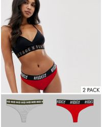 Savage x Fenty Naughty And Nice 2 Pack Cotton Logo Thong In Red And Grey - Gray