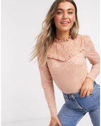 River Island Frill Long Sleeve Lace Top - Multicolour