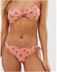 Oasis Плавки-бикини С Завязками По Бокам И Принтом Пальм -розовый Цвет - Многоцветный