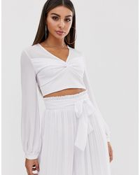 TFNC London Knot Front Long Sleeve Wrap Co-ord Crop Top - White