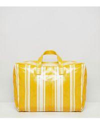 Mango - Stripe Plastic Holdall In Yellow Multi - Lyst