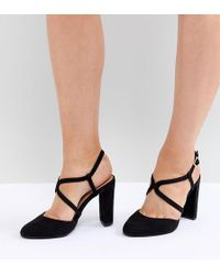 New Look Round Toe Strappy Court - Black