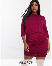 Simply Be Bodycon Mini Dress With Ruched Skirt - Red