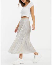 New Look Glitter Pleated Midi Skirt - Metallic
