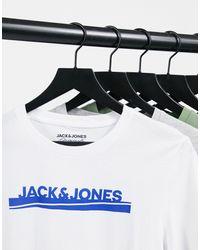 Jack & Jones - Набор Из 5 Разноцветных Футболок С Круглым Вырезом -многоцветный - Lyst