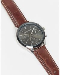 ASOS Watch With Subdial Detail And Croc Strap - Brown