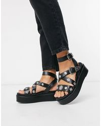 ASOS Tyler - Chaussures chunky à plateformes plates style western - Noir