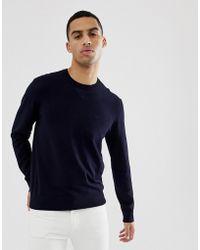 Emporio Armani Pull ras de cou avec logo - Bleu marine